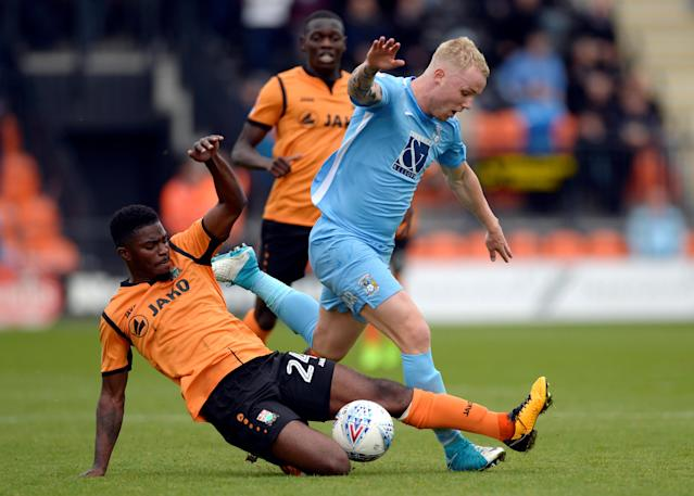 "Soccer Football - League Two - Barnet vs Coventry City - The Hive, London, Britain - October 7, 2017 Barnet's Andre Blackman in action with Coventry City's Jack Grimmer Action Images/Adam Holt EDITORIAL USE ONLY. No use with unauthorized audio, video, data, fixture lists, club/league logos or ""live"" services. Online in-match use limited to 75 images, no video emulation. No use in betting, games or single club/league/player publications. Please contact your account representative for further details."