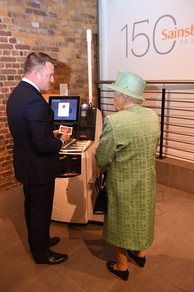 """<p><a href=""""https://www.townandcountrymag.com/society/tradition/a27554724/queen-elizabeth-sainsbury-grocery-store-visit-photos/"""" target=""""_blank"""">Queen Elizabeth was recently introduced to the concept of self-checkout</a>. """"You can't trick it? You can't cheat?"""" she immediately asked. </p><p>""""One of the things that the Queen noticed immediately was that there might be the opportunity to manipulate the system and maybe not scan items. I discussed that there are sensitive scales built into this device which weigh the items,"""" Corcoran told <em>T&C</em> afterwards about the encounter. """"I think she found that response sufficiently reassuring.""""</p>"""