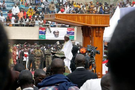 Gambian President Adama Barrow speaks during his swearing-in ceremony and the Gambia's Independence Day at the Independence Stadium, in Bakau, Gambia February 18, 2017. REUTERS/Thierry Gouegnon