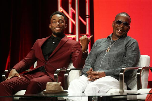 "Actor Woody McClain, left, and musician Bobby Brown of the television show ""The Bobby Brown Story"" speak during the Viacom segment of the Summer 2018 Television Critics Association Press Tour at the Beverly Hilton Hotel on July 27, 2018, in Beverly Hills, California (Photo: Phillip Faraone/Getty Images for Viacom)"