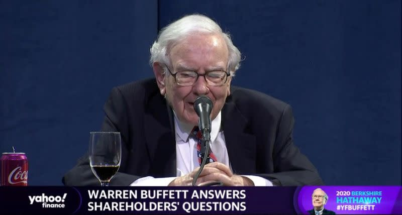 Video grab of Warren Buffett addressing shareholders at the annual meeting of his Berkshire Hathaway Inc, which is being virtually broadcast due to the coronavirus disease (COVID-19) pandemic, in Omaha