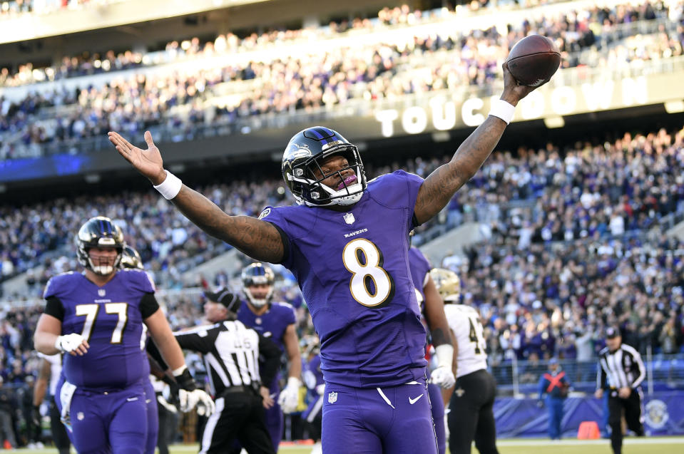 Lamar Jackson and the Ravens are a win away from an AFC North title. (AP)