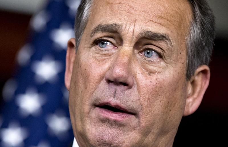 "House Speaker John Boehner of Ohio accuses President Barack Obama of not being serious about cutting government spending, Thursday, Dec. 13, 2012, during a news conference on Capitol Hill in Washington. Boehner is insisting that Obama wants far more in tax increases than spending reductions and appears willing to walk the economy ""right up to the fiscal cliff.""   (AP Photo/J. Scott Applewhite)"