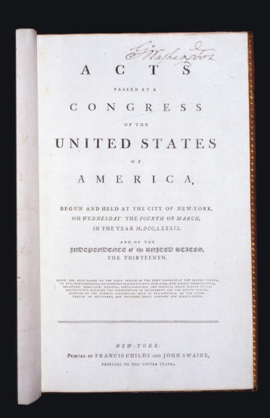 This undated photo provided by Christie's shows George Washington's personal copy of the Acts of Congress, including the Constitution and draft Bill of Rights. On June 22, Christie's New York will auction the volume which was specially printed and bound for Washington in 1789, his first year in office as first President of the United States. The estimate is $2-3million. (AP Photo/Christie's)