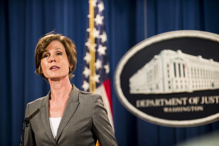 Then Deputy Attorney General Sally Yates speaks during a press conference in June 2016. (Photo: Pete Marovich/Getty Images)
