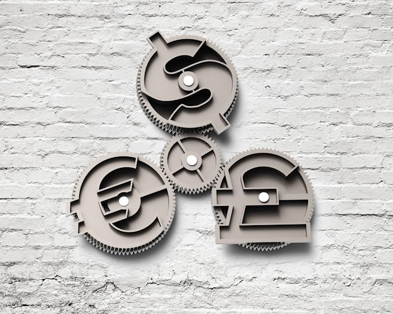 Gears with dollar sign, pound and euro symbol