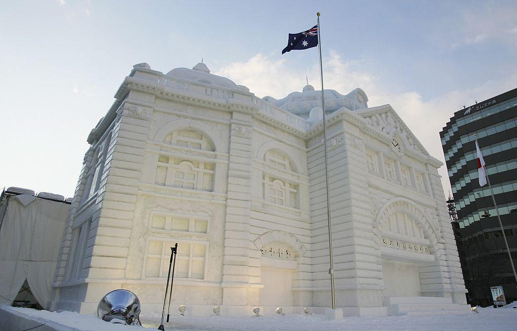 A snow sculpture of Australia's Flinders Street Station is displayed at Odori Koen during the 57th Sapporo Snow Festival in Sapporo, Hokkaido, Japan.