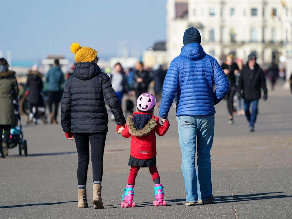 <p>Families can leave home for recreation and exercise under the first step of the roadmap</p> (Getty)