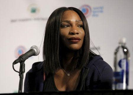 Serena Williams attends a news conference in New York March 8, 2016. REUTERS/Brendan McDermid