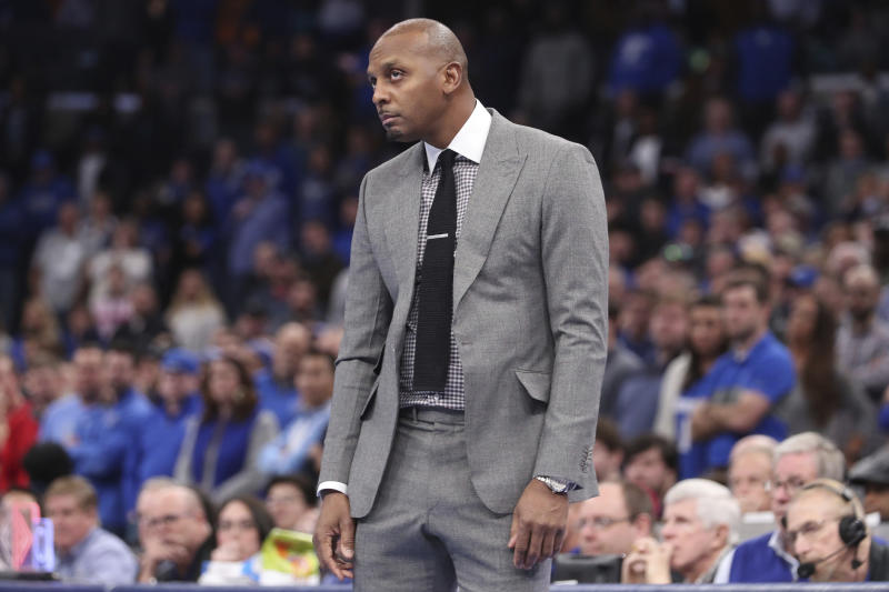 Memphis head coach Penny Hardaway watches a shot hit the basket towards the end of an NCAA college basketball game against Georgia Saturday, Jan. 4, 2020, in Memphis, Tenn. (AP Photo/Karen Pulfer Focht)