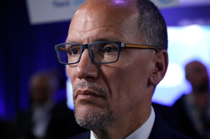 Democratic National Committee chair Tom Perez is interviewed after the fifth 2020 campaign debate at the Tyler Perry Studios in Atlanta, Georgia