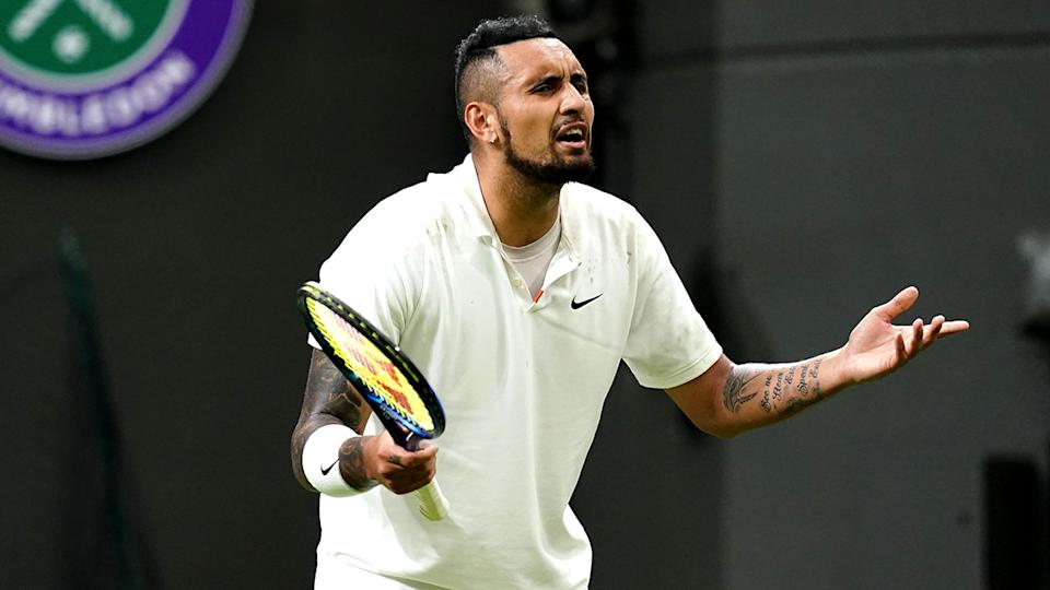 Nick Kyrgios, pictured here during his match against Ugo Humbert at Wimbledon.