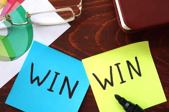 "Two Post-It notes on a desk next to each other, each reading ""WIN."""