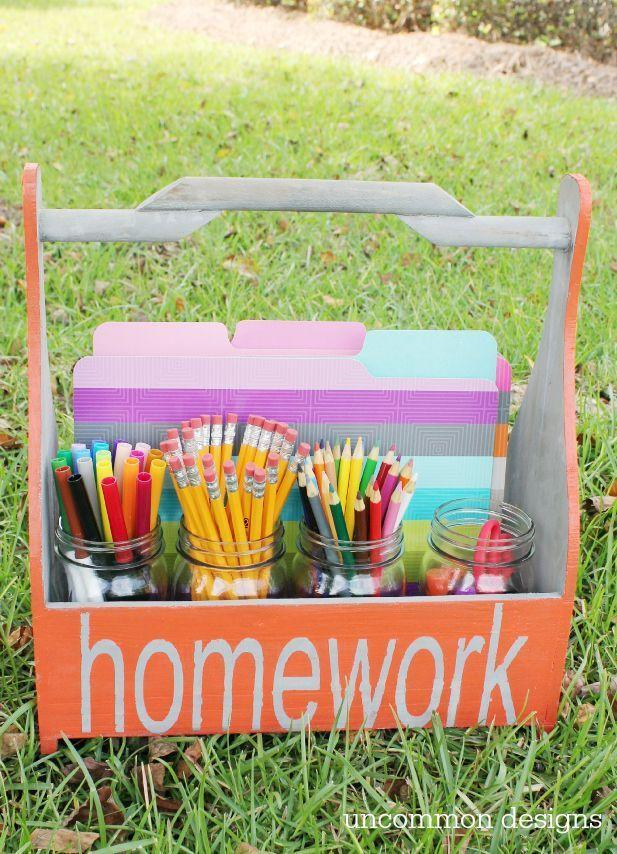 """<p>Do you have kids who are always on the go? Then you can help them stay organized with this portable homework caddy, which they can take to their sibling's soccer practice or just out to your backyard. </p><p><strong><em><a href=""""https://uncommondesignsonline.com/homework-station-portable-diy-crate/"""" rel=""""nofollow noopener"""" target=""""_blank"""" data-ylk=""""slk:Get the tutorial at Uncommon Designs"""" class=""""link rapid-noclick-resp"""">Get the tutorial at Uncommon Designs</a>. </em></strong></p><p><a class=""""link rapid-noclick-resp"""" href=""""https://www.amazon.com/Old-Wooden-Tool-Box-Barnwood/dp/B0046CZ9B8?tag=syn-yahoo-20&ascsubtag=%5Bartid%7C10070.g.37133630%5Bsrc%7Cyahoo-us"""" rel=""""nofollow noopener"""" target=""""_blank"""" data-ylk=""""slk:SHOP WOOD CADDY"""">SHOP WOOD CADDY</a></p>"""