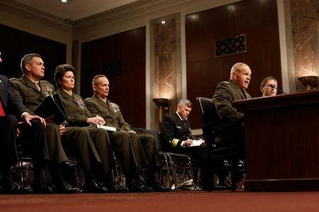 Commandant of the Marine Corps Gen. Robert Neller testifies during a Senate Armed Services Committee hearing on the Marines United Facebook page on Capitol Hill