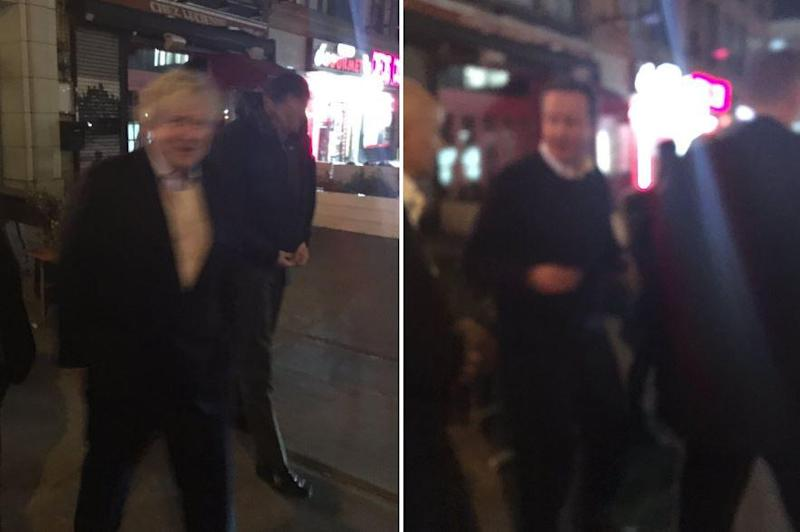Boris Johnson and David Cameron leaving restaurant in New York separately (Twitter/Joanna Geary)