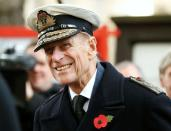 FILE PHOTO: Britain's Prince Philip smiles during a service at the Field of Remembrance at Westminster Abbey in London