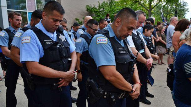PHOTO: A prayer vigil was held in remembrance of Police Officer Ella French and her partner who was badly wounded, on Aug. 11, 2021, in Chicago at the 16th District Chicago Police Department. (Anadolu Agency via Getty Images, FILE)