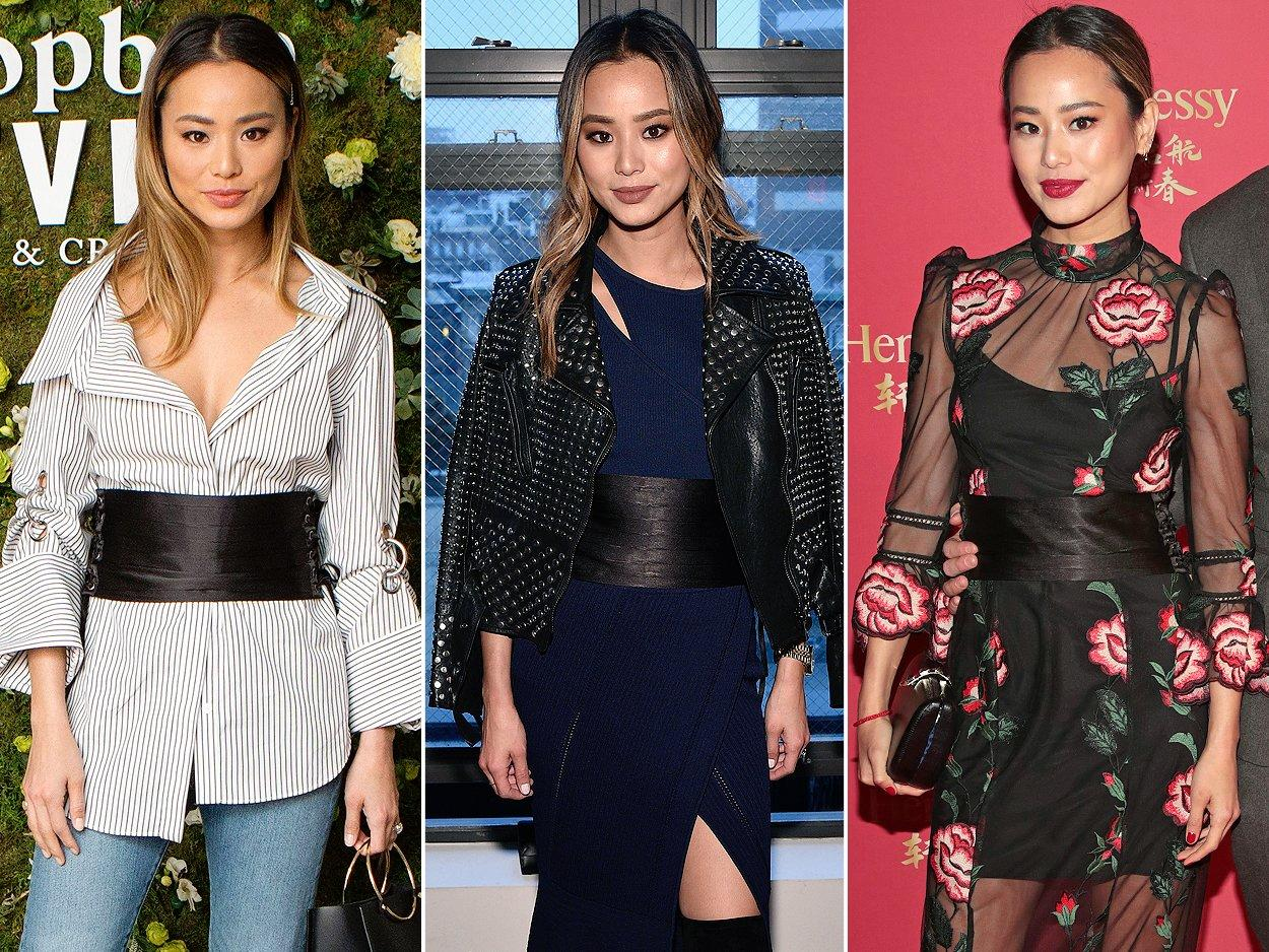 "Leave it to a trend-setter like Jamie Chung to make a <a href=""https://shop-nfc.com/collections/corsets/products/black-tie-corset-1"">lace-up corset belt</a><a href=""https://www.lulus.com/products/betty-black-lace-up-corset-belt/533832.html""></a> work with not one, but <i>three</i> different outfits!   <b>Look for Less: </b>Express canvas corset belt, $39.90; <a href=""http://www.anrdoezrs.net/links/8029122/type/dlg/sid/POFASIRLMCAKMar18/https://www.express.com/clothing/women/canvas-corset-belt/pro/01021028/color/BLACK?AID=11388515&PID=2178999&SID=3077651938&CID=550&pubname=ShopStyle+Inc.&pubID=2178999"">express.com</a>"
