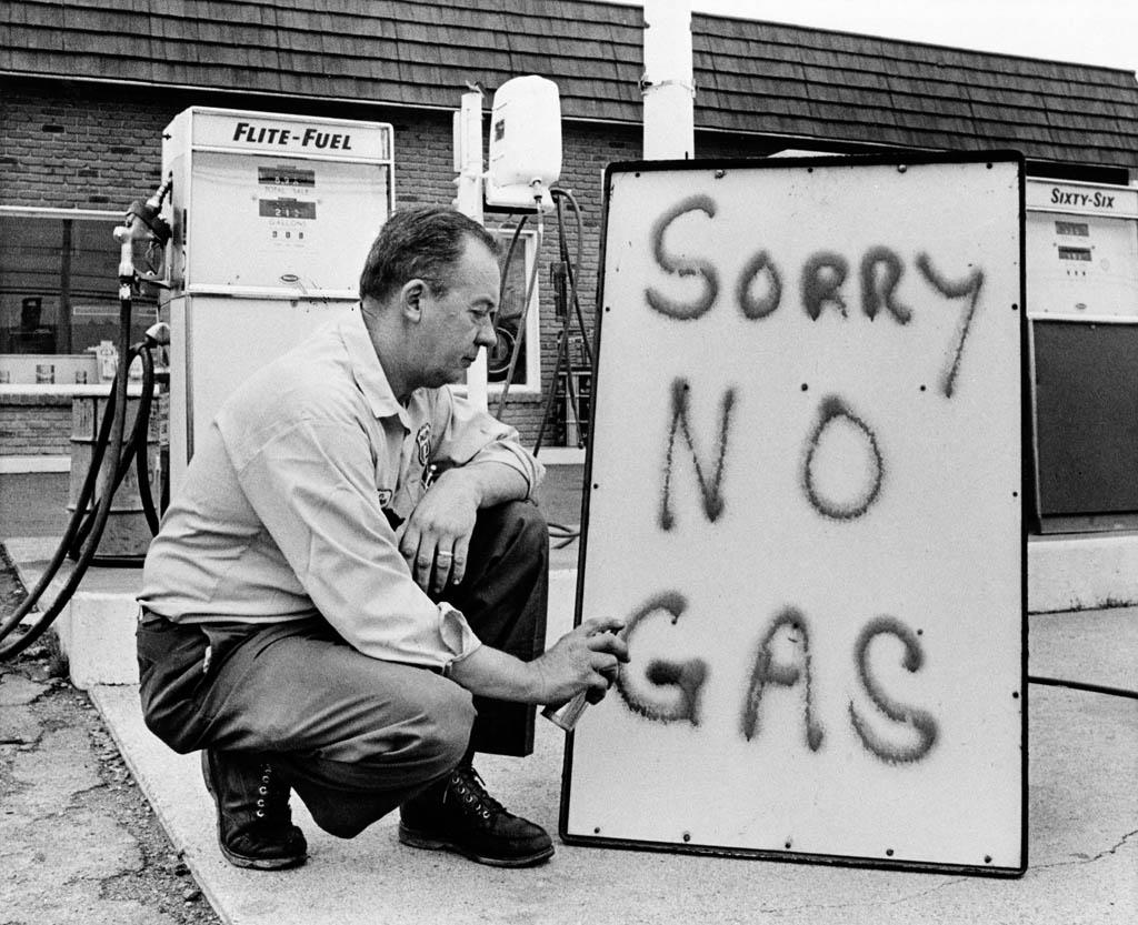 Meltdown Recession Fears 1973In this June 1, 1973 file photo, Leon Mill spray paints a sign outside his Phillips 66 station in Perkasie, Pa. to let his customers know he is out of gas. The downturn that is probably already under way is powered by the collapse in the housing market and sharp restrictions on credit that are now putting severe pressure on consumer spending and on businesses. That is a very different environment from 1973, when an oil crisis was the culprit, squeezing U.S. businesses and consumers who were forced to line up at gas stations for hours.