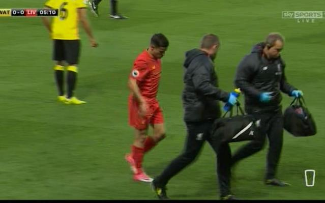 <span>Coutinho off for treatment</span> <span>Credit: Sky Sports </span>
