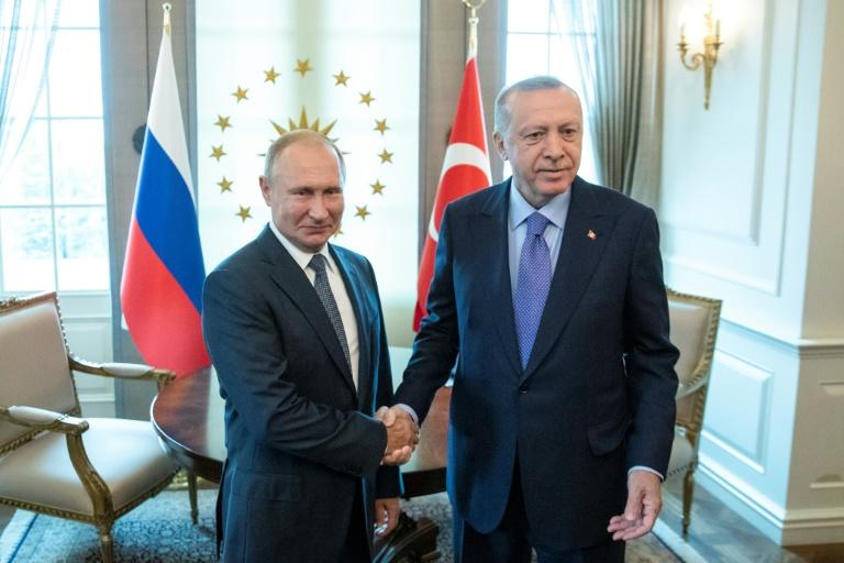 Erdogan (right) welcomed Putin to Ankara ahead of the summit. Turkey is concerned over the steady advance of Syrian forces into the Idlib region, backed by Russian air power
