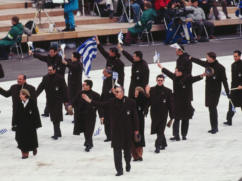 The Olympic team from Greece in 1998 dressed in all black outfits