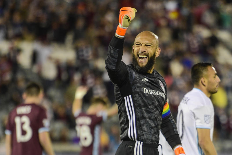 COMMERCE CITY, CO - JUNE 08: Tim Howard #1 of the Colorado Rapids celebrates after defeating Minnesota United at Dick's Sporting Goods Park on June 8, 2019 in Commerce City, Colorado. (Photo by Timothy Nwachukwu/Getty Images)