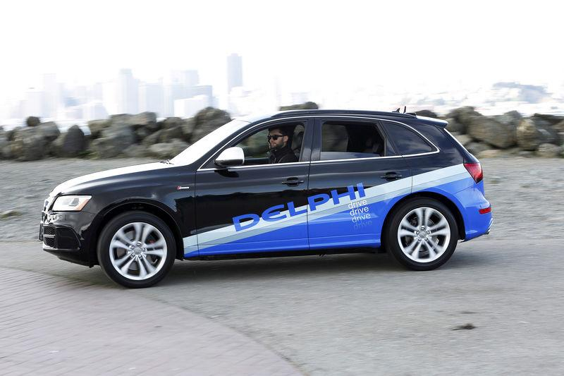 FILE PHOTO: Autonomous car from Delphi departs Treasure Island for a cross-country trip in San Francisco