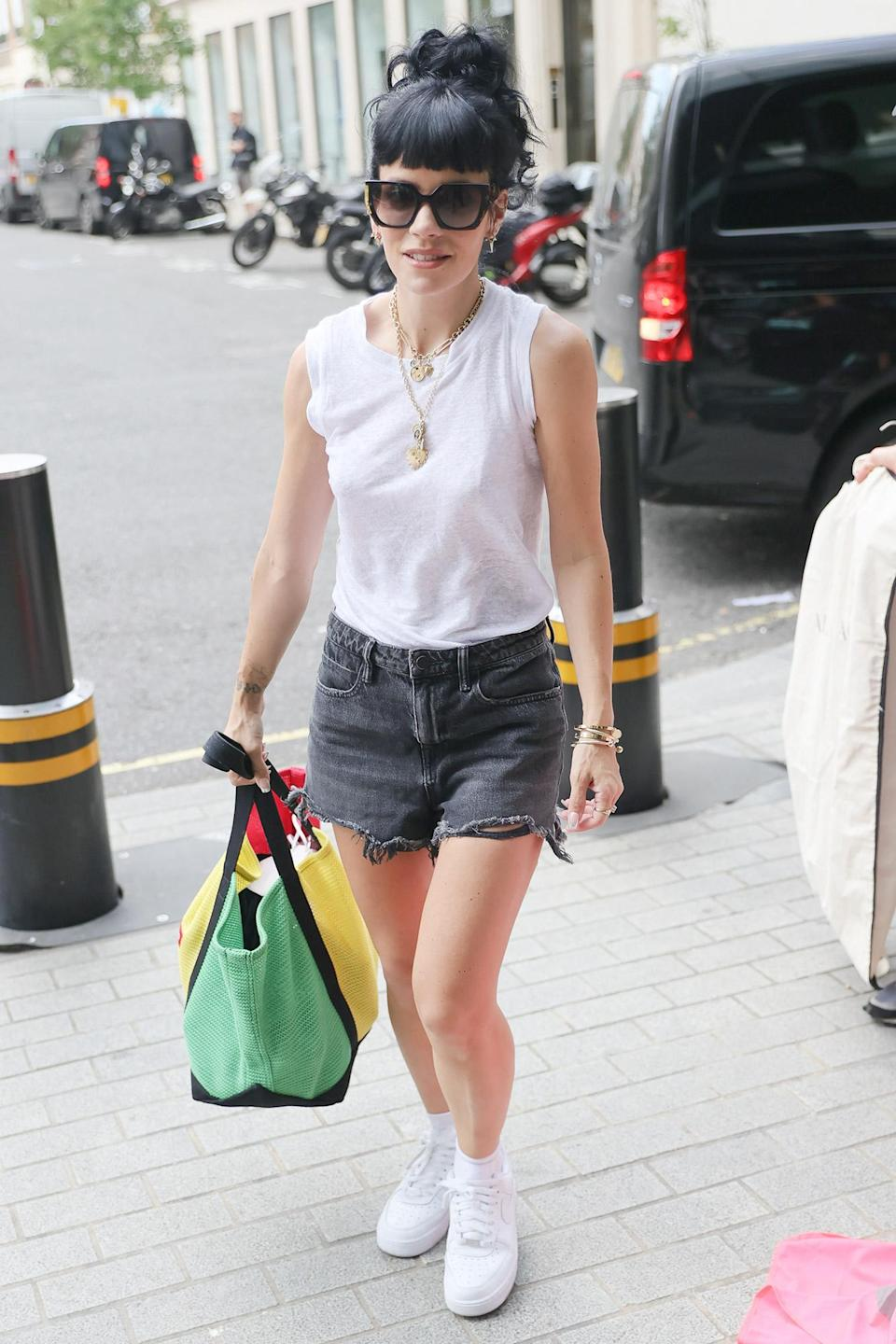 <p>Lily Allen arrives at BBC Studios in London on July 19.</p>