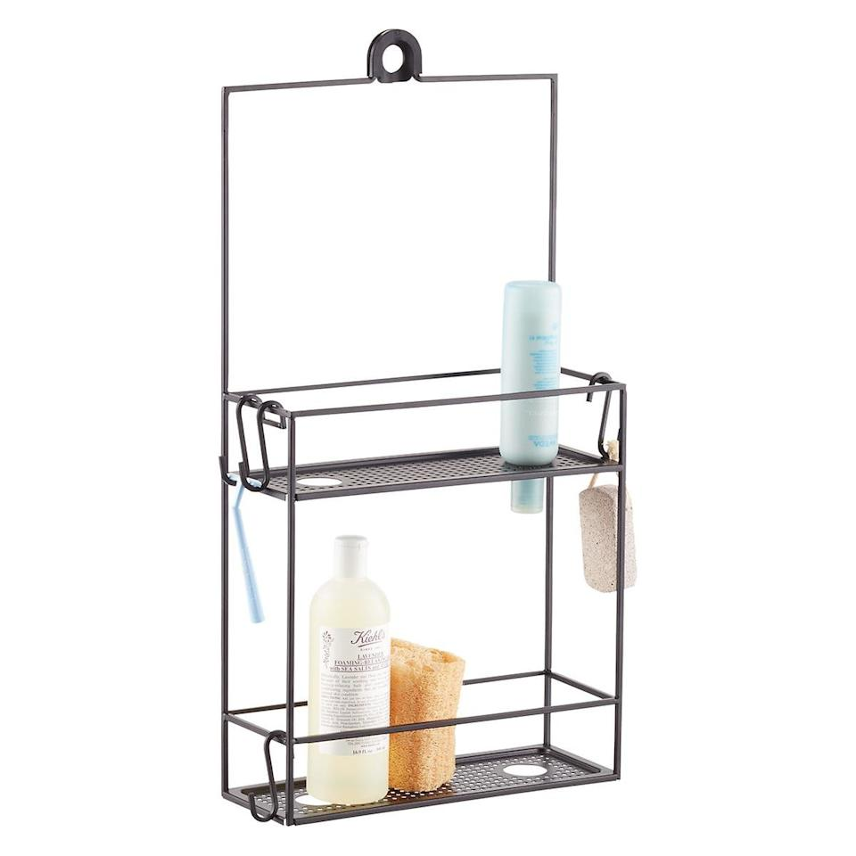 """<p>The caddy I use in my own shower, this organizer has thought of absolutely everything. Not only are there S-hooks for stashing loofahs and squeegees, but also a spot to suspend your razor. Holes in the bottom of the lower shelf are designed to hold upside-down bottles, helping you use every last drop of shampoo. </p> <p><strong>To buy: </strong>$32, <a href=""""https://click.linksynergy.com/deeplink?id=93xLBvPhAeE&mid=37353&murl=https%3A%2F%2Fwww.containerstore.com%2Fs%2Fbath%2Fshower-bathtub%2Fcubiko-shower-caddy%2F12d%3FproductId%3D11003481&u1=RS%2C5WaystoDoubleYourShowerStorage%2Ckholdefehr1271%2CORG%2CIMA%2C675749%2C201909%2CI"""" target=""""_blank"""">containerstore.com</a>. </p>"""