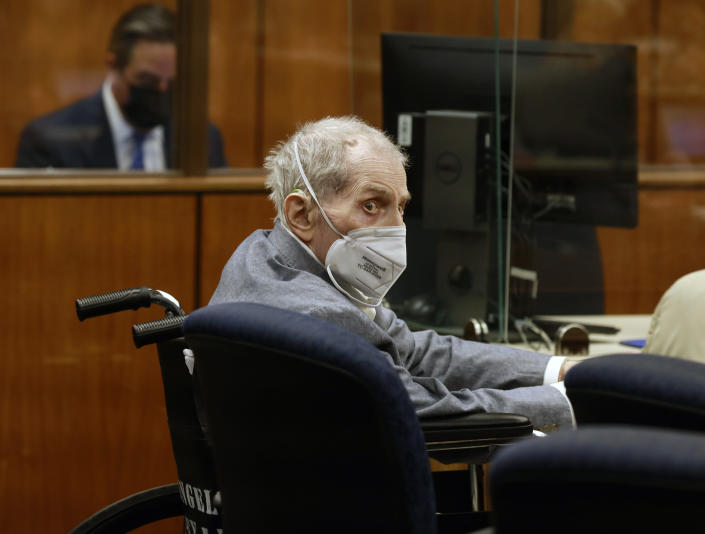 FILE - In this Sept. 8, 2021, file photo, Robert Durst looks at jurors as he appears in a courtroom in Inglewood, Calif. A Los Angeles jury convicted Robert Durst Friday, Sept. 17, 2021 of murdering his best friend 20 years ago in a case that took on new life after the New York real estate heir participated in a documentary that connected him to the slaying linked to his wife's 1982 disappearance.(Al Seib/Los Angeles Times via AP, Pool, File)