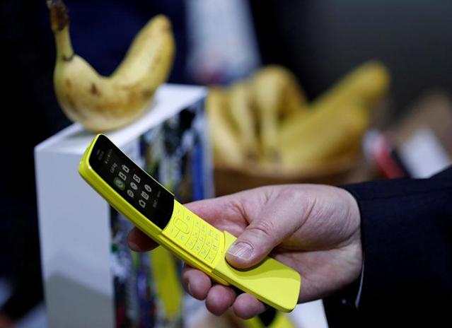 FILE PHOTO: The new Nokia 8110 is seen during the Mobile World Congress in Barcelona, Spain, February 27, 2018. REUTERS/Yves Herman/File Photo