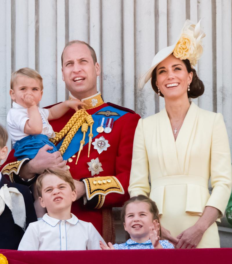 Prince Louis, Prince George, Prince William, Duke of Cambridge, Princess Charlotte and Catherine, Duchess of Cambridge appear on the balcony during Trooping The Colour