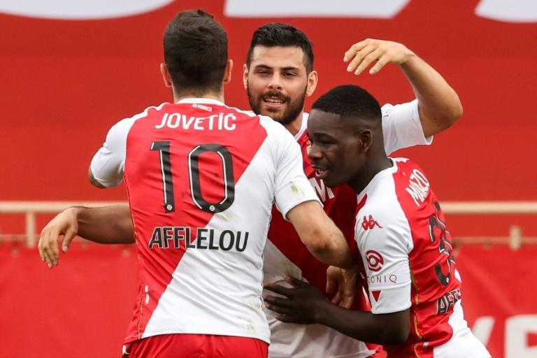 Volland (C) scored the opening goal as Monaco kept up their title push