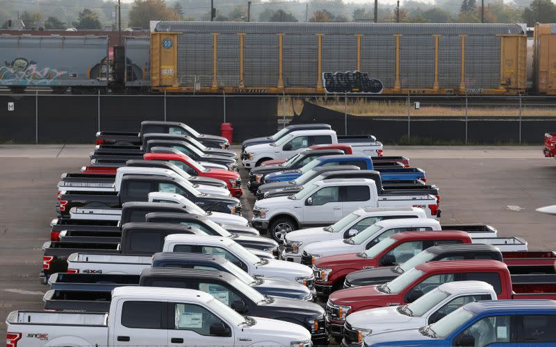 Newly assembled Ford 2018 F1-50 pick-up trucks are stored on a lot before being shipped to dealers during the 100 year celebration of the Ford River Rouge Complex in Dearborn,