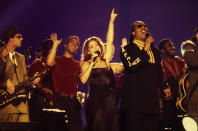 Musician Stevie Wonder and Gloria Estefan performing at Superbowl XXXIII Halftime on January 31, 1999 in Miami. (Photo by Al Pereira/Michael Ochs Archives/Getty Images)