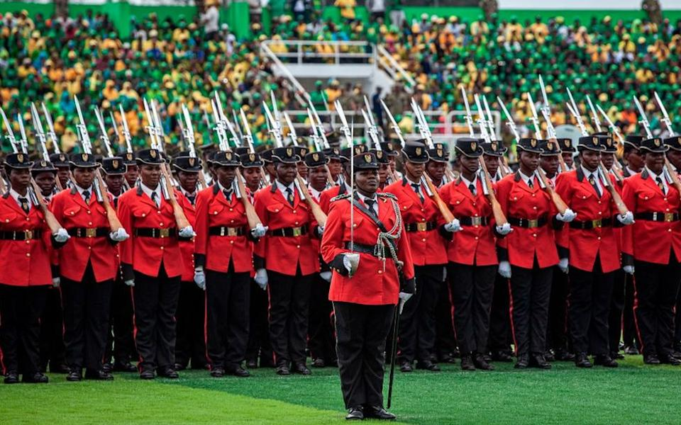 Tanzanian soldiers march during Zanzibar´s President inauguration ceremony at Amaani Stadium in Amaani, Zanzibar, on November 02, 2020.
