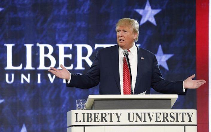 Trump addresses students and faculty at Liberty University, which calls itselfthe world's largest Christian university, on Jan. 18, 2016. (Photo: Steve Helber/AP Photo)
