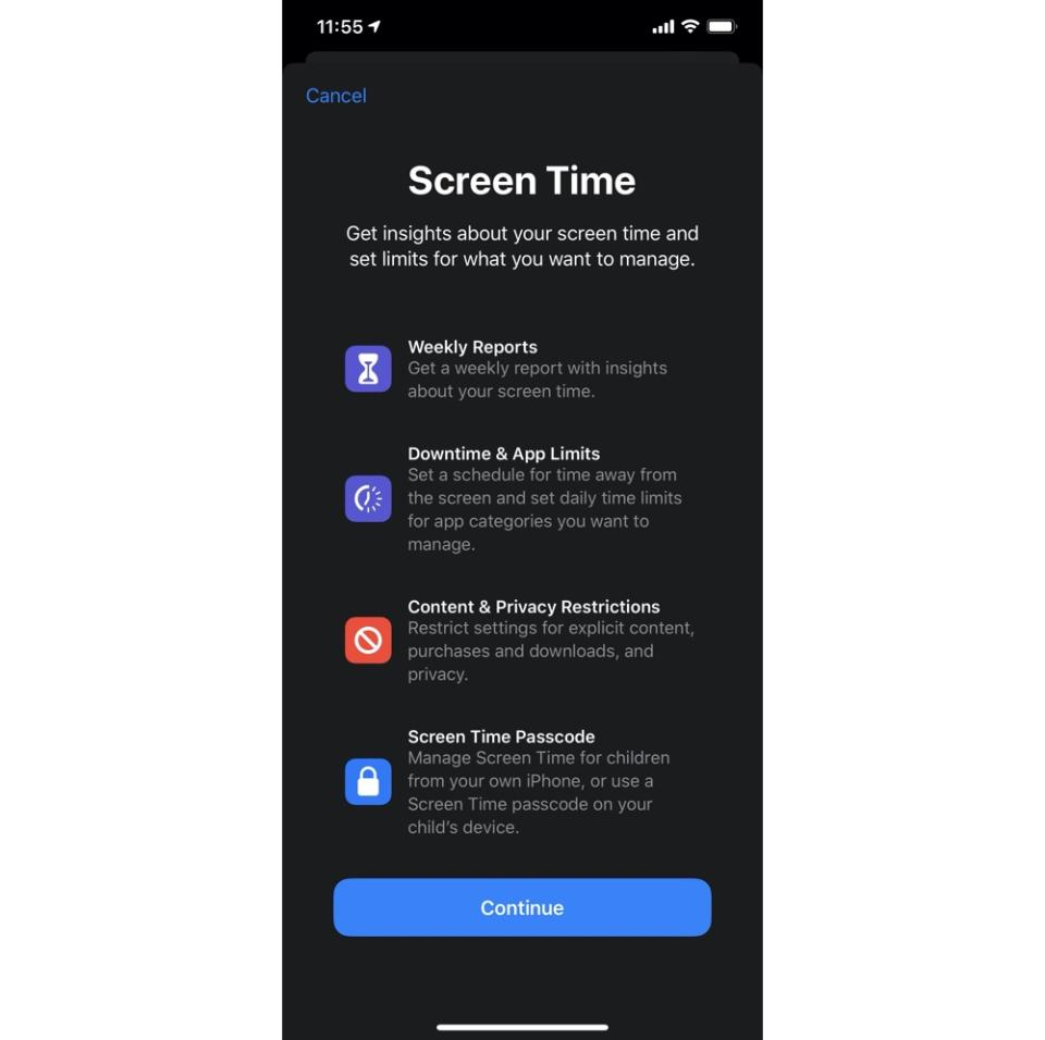 Apple's Screen Time app lets you control the kinds of apps your kids can use and how often they access them. (Image: Apple)