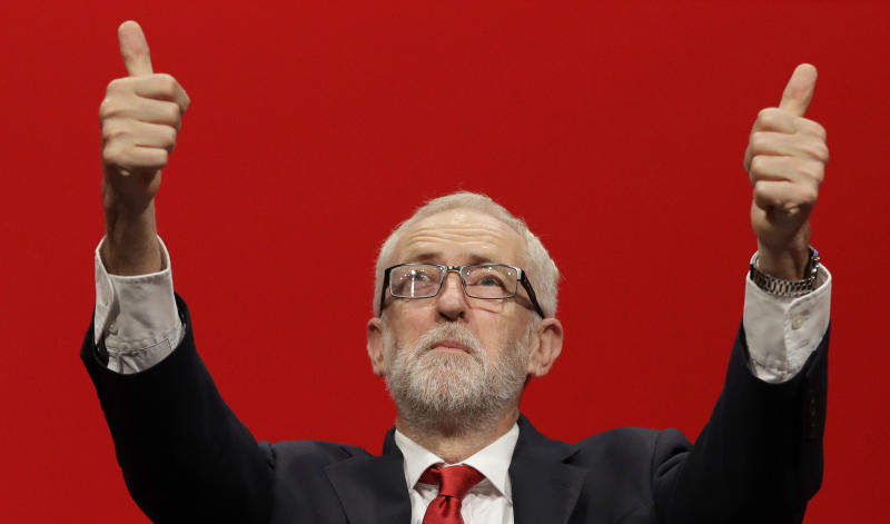 Jeremy Corbyn, leader of Britain's opposition Labour Party gives thumbs up after he addressed party members during the Labour Party Conference at the Brighton Centre in Brighton, England, Tuesday, Sept. 24, 2019. (AP Photo/Kirsty Wigglesworth)