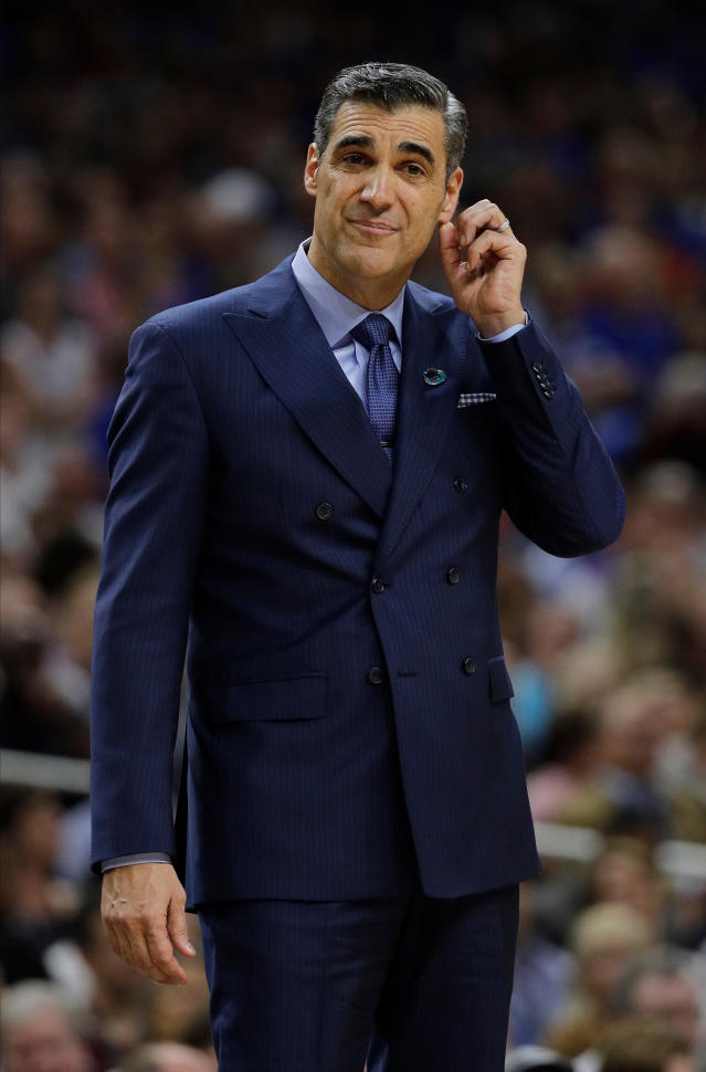 Villanova head coach Jay Wright reacts during the first half in the semifinals of the Final Four NCAA college basketball tournament against Kansas, Saturday, March 31, 2018, in San Antonio. (AP Photo/David J. Phillip)