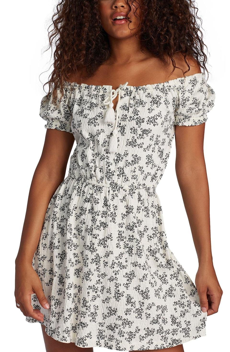 <p>We love the silhouette of this <span>Roxy After the Beach Off the Shoulder Minidress</span> ($50).</p>