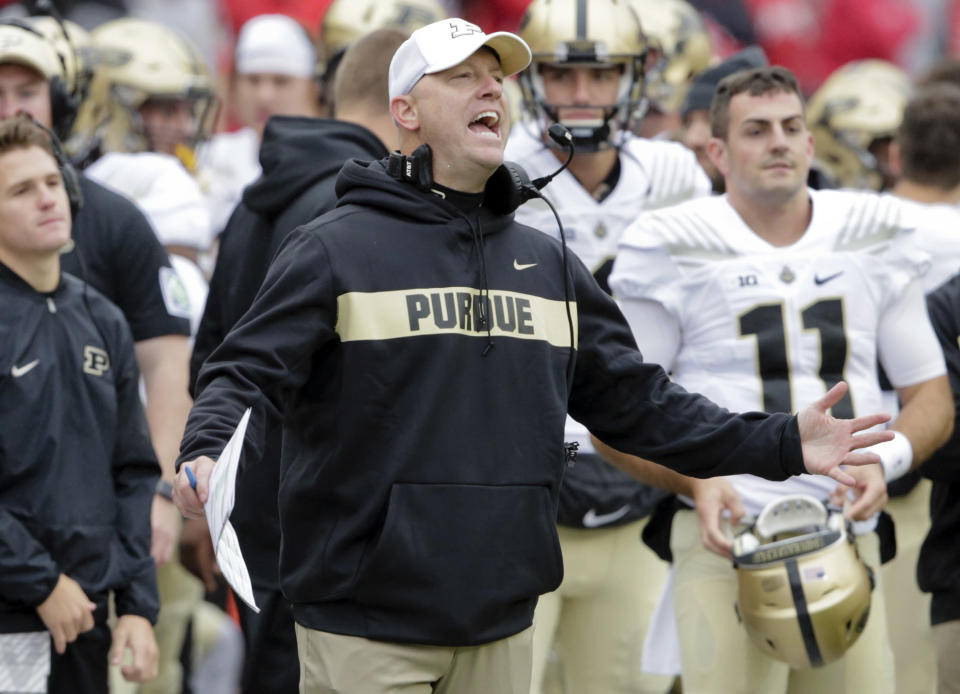 Purdue head coach Jeff Brohm reacts to call during the first half of an NCAA college football game against Nebraska in Lincoln, Neb., Saturday, Sept. 29, 2018. (AP Photo/Nati Harnik)