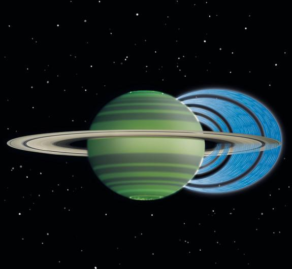 Water particles flow from Saturn's rings into the planet's atmosphere along magnetic field lines.