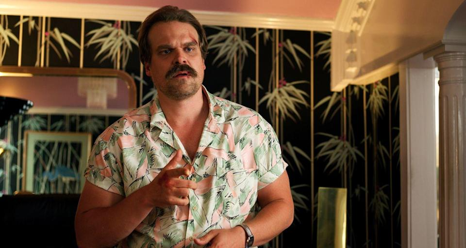 """<p>Netflix's favorite gun-toting, cigarette-smoking, waffle-loving chief of police has (un)officially made Hawaiian shirts cool again. Once you find the perfect shirt, throw on a wig and stick-on mustache to round out the look. </p><p><a class=""""link rapid-noclick-resp"""" href=""""https://www.amazon.com/CosplayCos-T-Shirt-Cosplay-Halloween-Hopper-XXXL/dp/B07VMCXDYQ/ref=sr_1_5?dchild=1&keywords=jim%2Bhopper%2Bhawaiian%2Bshirt&qid=1571414492&sr=8-5&th=1&psc=1&tag=syn-yahoo-20&ascsubtag=%5Bartid%7C10055.g.29516206%5Bsrc%7Cyahoo-us"""" rel=""""nofollow noopener"""" target=""""_blank"""" data-ylk=""""slk:SHOP HAWAIIAN SHIRTS"""">SHOP HAWAIIAN SHIRTS</a></p><p><a class=""""link rapid-noclick-resp"""" href=""""https://www.amazon.com/Rhode-Island-Novelty-Mustache-3-5-Inch/dp/B00DLW8CRC/?tag=syn-yahoo-20&ascsubtag=%5Bartid%7C10055.g.29516206%5Bsrc%7Cyahoo-us"""" rel=""""nofollow noopener"""" target=""""_blank"""" data-ylk=""""slk:SHOP MUSTACHE SET"""">SHOP MUSTACHE SET</a></p><p><strong>RELATED:</strong> <a href=""""https://www.goodhousekeeping.com/holidays/halloween-ideas/a28483837/stranger-things-halloween-costume-ideas/"""" rel=""""nofollow noopener"""" target=""""_blank"""" data-ylk=""""slk:Where to Buy 'Stranger Things' Halloween Costumes"""" class=""""link rapid-noclick-resp"""">Where to Buy 'Stranger Things' Halloween Costumes</a></p>"""