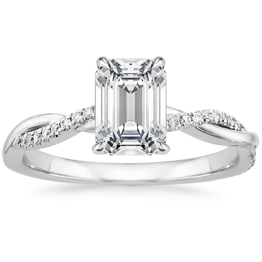 <p>The wrap around band on this <span>Brilliant Earth 18K White Gold Petite Twisted Vine Diamond Ring</span> ($1,250) is so pretty.</p>