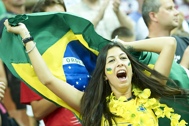 KATOWICE, POLAND – SEPTEMBER 14: Brazil's fan support her team during the FIVB World Championships match between Brazil and Russia at Spodek Hall on September 14, 2014 in Katowice, Poland. (Photo by Adam Nurkiewicz/Getty Images for FIVB)