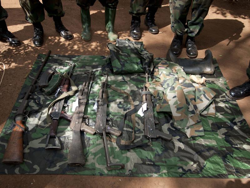 Weapons, seized by the Uganda army during the capture of Ceasar Acellam, a senior member of the Lord's Resistance Army, seen at an army base in Djema, on May 13, 2012 (AFP Photo/Michele Sibiloni)