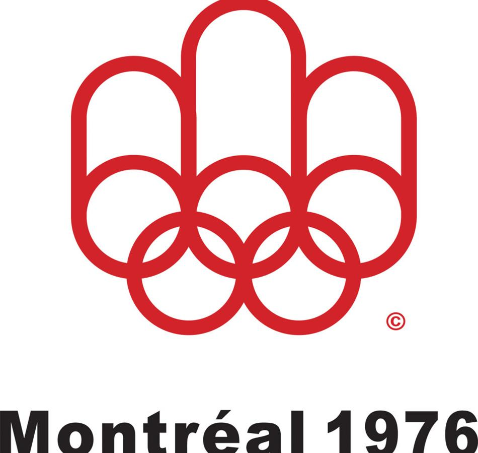 The controversial logo for the Olympics in Montreal, pictured here in 1976.